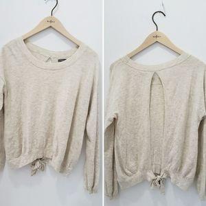 Aerie Open Tie Back Soft Cozy Sweater Cream Small